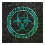 Bio cazador azul y negro rasguñado del zombi del invitación 13,3 cm x 13,3cm