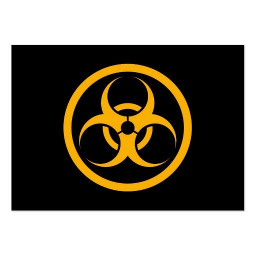 Bio círculo amarillo y negro del peligro tarjeta de visita