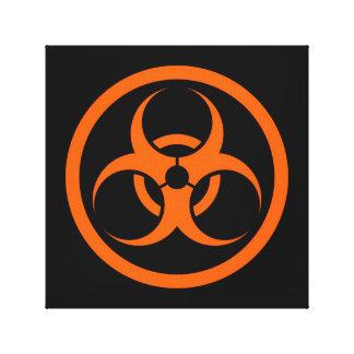 Bio círculo anaranjado y negro del peligro impresion de lienzo