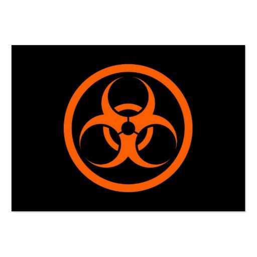 Bio círculo anaranjado y negro del peligro tarjeta de visita