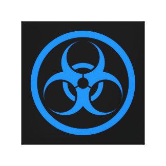 Bio círculo azul y negro del peligro lona estirada galerias