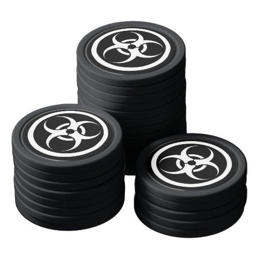 Bio círculo blanco y negro del peligro juego de fichas de póquer