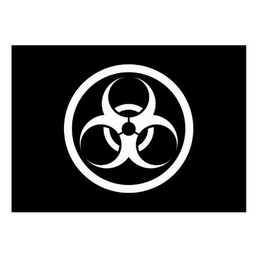 Bio círculo blanco y negro del peligro tarjeta de visita
