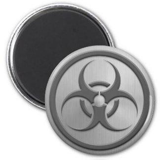 Bio círculo del peligro con efecto del acero inoxi imán redondo 5 cm