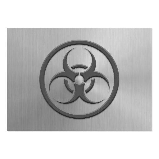 Bio círculo del peligro con efecto del acero inoxi tarjetas de visita