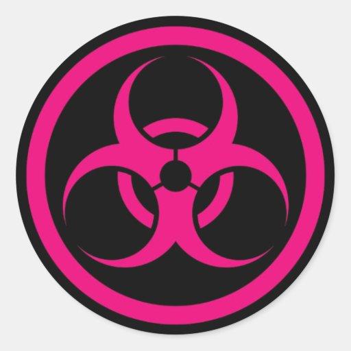 Bio círculo del peligro del rosa y del negro pegatinas redondas