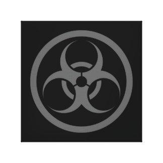 Bio círculo gris y negro del peligro impresión en lona
