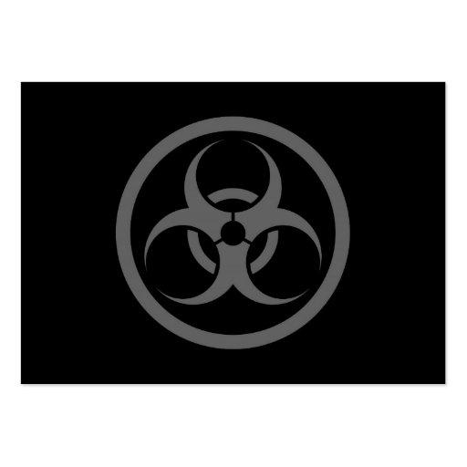 Bio círculo gris y negro del peligro tarjetas de visita