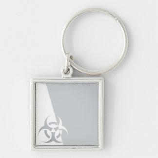 Bio-hazard biohazard atomic nuclear graphic Silver-Colored square keychain