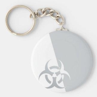 Bio-hazard biohazard atomic nuclear graphic basic round button keychain
