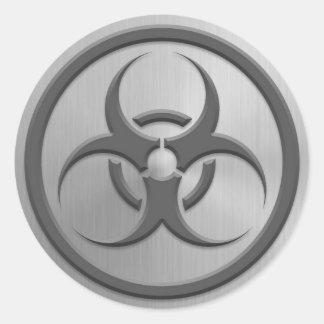Bio Hazard Circle with Stainless Steel Effect Classic Round Sticker