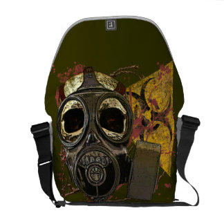Bio-hazard Gas Mask Skull Courier Bag