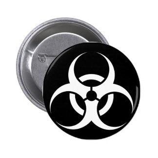 Bio Hazard or Biohazard Sign Symbol Warning Black 2 Inch Round Button