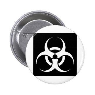 Bio Hazard or Biohazard Sign Symbol Warning Black Button