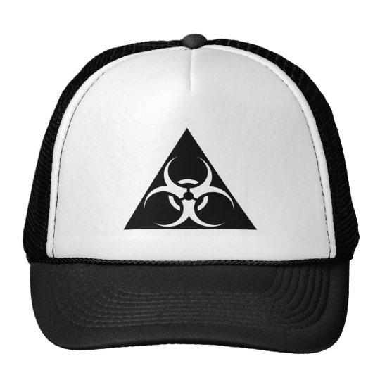 Bio Hazard or Biohazard Sign Symbol Warning Black Trucker Hat