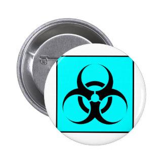 Bio Hazard or Biohazard Sign Symbol Warning Blue Button