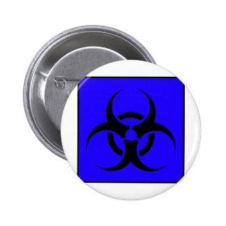 Bio Hazard or Biohazard Sign Symbol Warning Blue Pinback Button