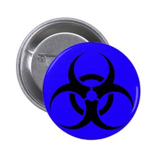 Bio Hazard or Biohazard Sign Symbol Warning Blue Pins