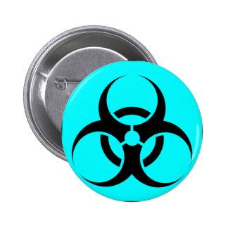 Bio Hazard or Biohazard Sign Symbol Warning Blue Buttons
