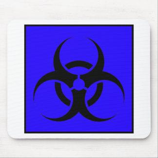 Bio Hazard or Biohazard Sign Symbol Warning Blue Mouse Pad