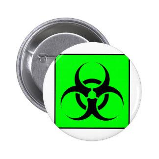 Bio Hazard or Biohazard Sign Symbol Warning Green Buttons