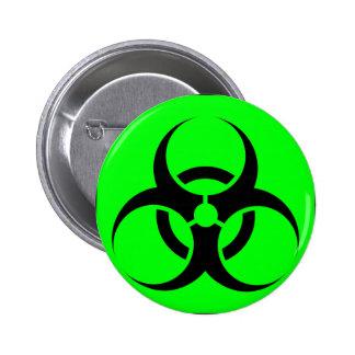 Bio Hazard or Biohazard Sign Symbol Warning Green Pinback Buttons