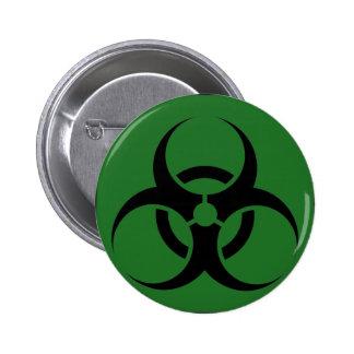 Bio Hazard or Biohazard Sign Symbol Warning Green Pinback Button