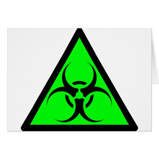 Bio Hazard or Biohazard Sign Symbol Warning Green Card
