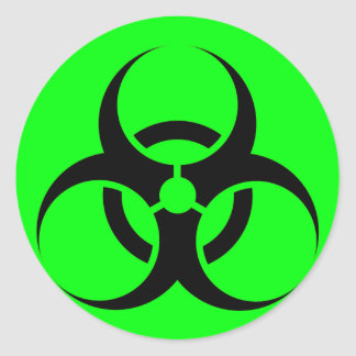 Bio Hazard or Biohazard Sign Symbol Warning Green Classic Round Sticker