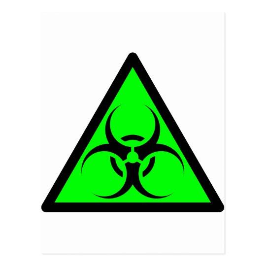 Bio Hazard or Biohazard Sign Symbol Warning Green Postcard