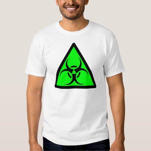 Bio Hazard or Biohazard Sign Symbol Warning Green Shirt