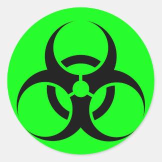 Bio Hazard or Biohazard Sign Symbol Warning Green Round Stickers