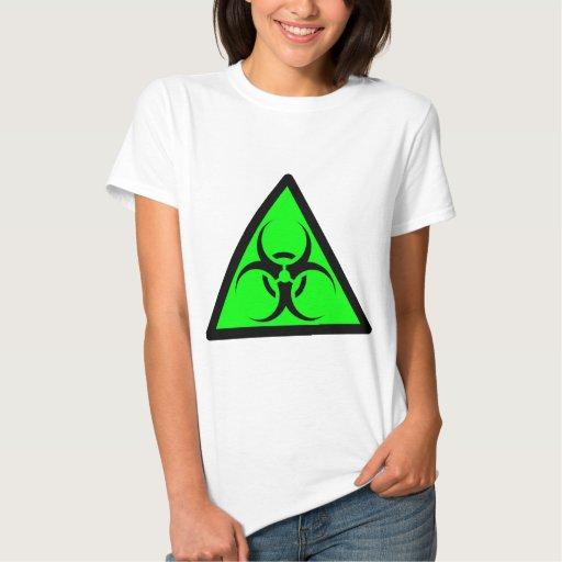 Bio Hazard or Biohazard Sign Symbol Warning Green T Shirt