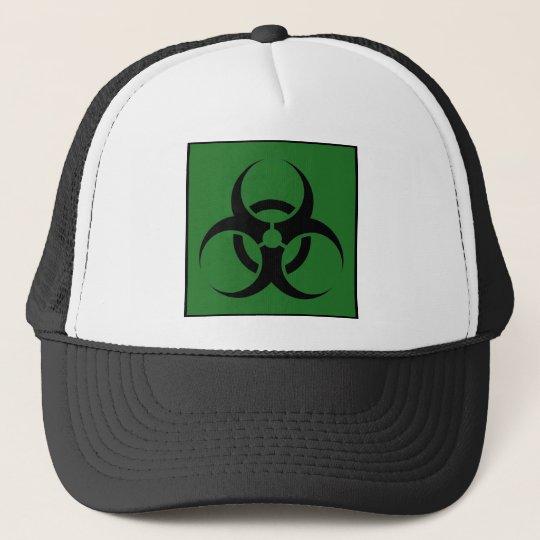 Bio Hazard or Biohazard Sign Symbol Warning Green Trucker Hat