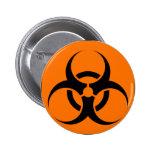 Bio Hazard or Biohazard Sign Symbol Warning Orange Buttons
