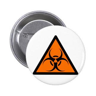 Bio Hazard or Biohazard Sign Symbol Warning Orange Pinback Buttons