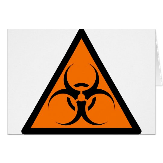 Bio Hazard or Biohazard Sign Symbol Warning Orange Card