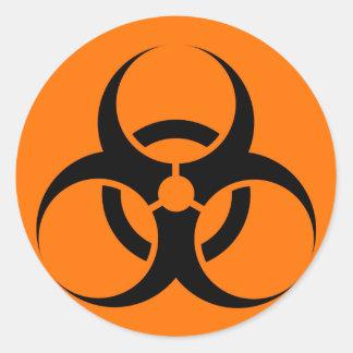 Bio Hazard or Biohazard Sign Symbol Warning Orange Classic Round Sticker
