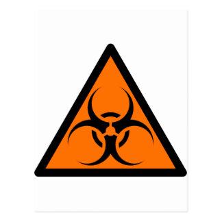 Bio Hazard or Biohazard Sign Symbol Warning Orange Postcard