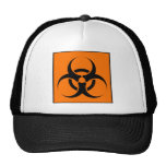 Bio Hazard or Biohazard Sign Symbol Warning Orange Trucker Hat