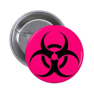 Bio Hazard or Biohazard Sign Symbol Warning Pink Buttons