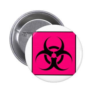Bio Hazard or Biohazard Sign Symbol Warning Pink Button