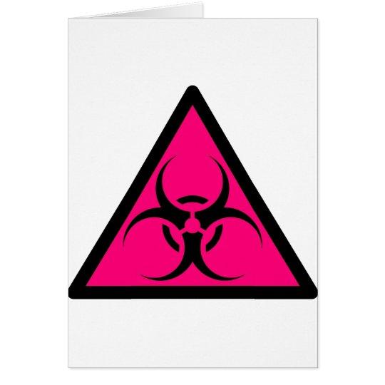 Bio Hazard or Biohazard Sign Symbol Warning Pink Card