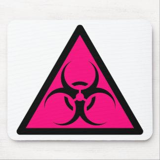 Bio Hazard or Biohazard Sign Symbol Warning Pink Mouse Pad