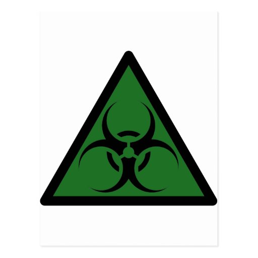 Bio Hazard or Biohazard Sign Symbol Warning Postcard