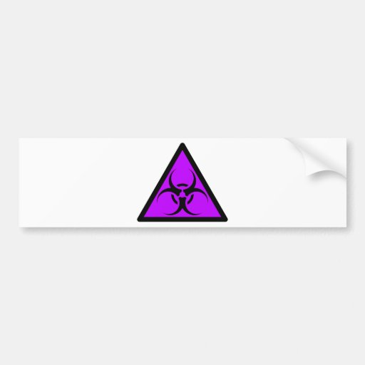 Bio Hazard or Biohazard Sign Symbol Warning Purple Car Bumper Sticker
