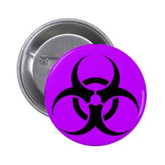 Bio Hazard or Biohazard Sign Symbol Warning Purple Pins