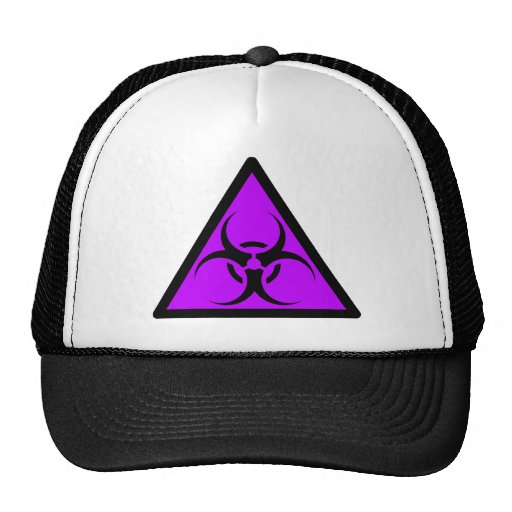 Bio Hazard or Biohazard Sign Symbol Warning Purple Trucker Hats