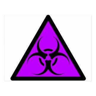 Bio Hazard or Biohazard Sign Symbol Warning Purple Postcard