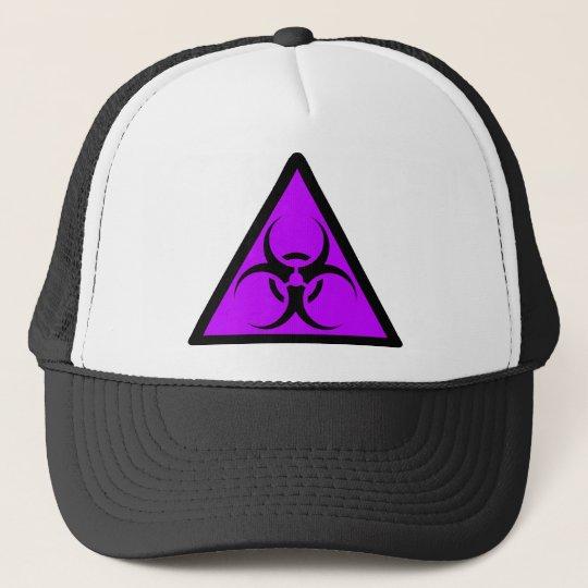 Bio Hazard or Biohazard Sign Symbol Warning Purple Trucker Hat